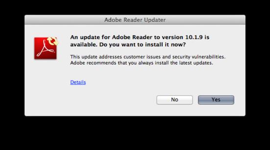 Adobe Acrobat update dialog