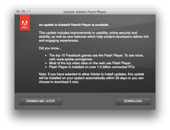 Adobe Flash Update Screen