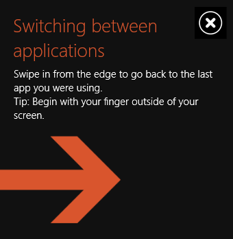 Windows 8.1 educational popover with close button