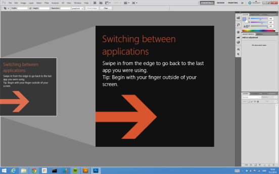 Windows 8.1 teaches the user to swipe the edge to switch between applications