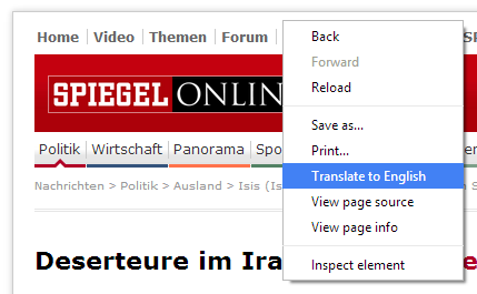 Chrome has a page-wide translation menu already