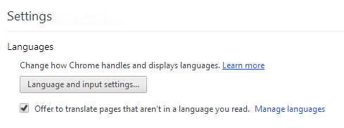 Chrome Settings > Languages